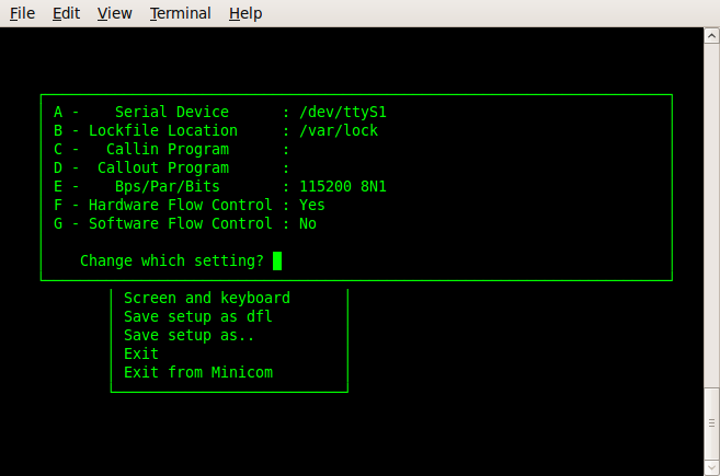 Using Minicom the serial terminal emulator
